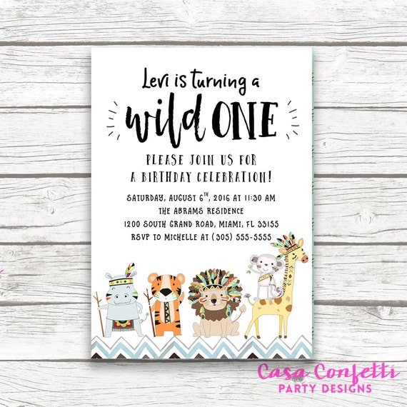 Party Animal 1st Birthday First Birthday Ideas: Wild One Birthday Invitation Tribal Safari Birthday