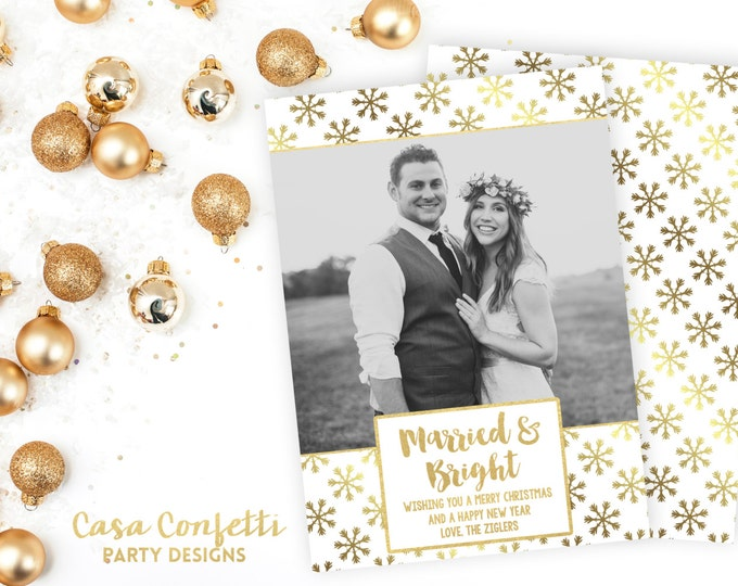 Married and Bright Christmas Card, Newlywed Christmas Card, White  and Gold Christmas Card, Holiday Photo Card, Christmas Photo Card