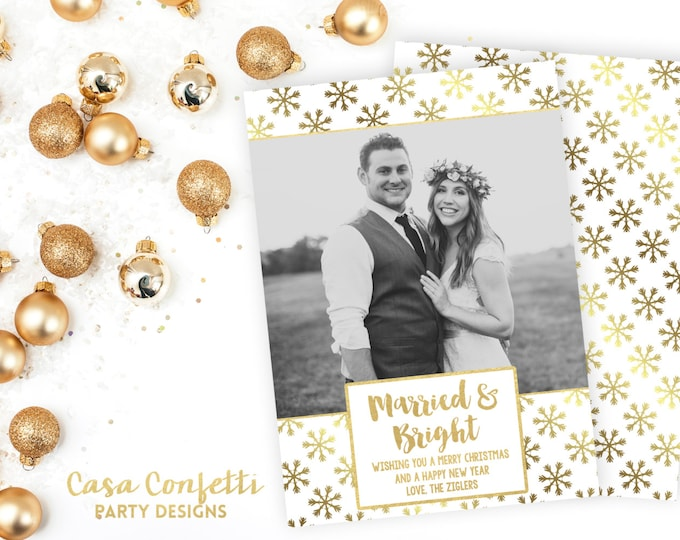 Newlywed Christmas Card, Married and Bright Christmas Card, White and Gold Christmas Card, Holiday Photo Card, Christmas Photo Card
