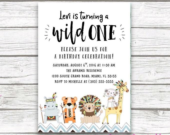 Wild One Birthday Invitation, Tribal Safari Birthday Invitation, First 1st Birthday Invitation, Wild One Boy Birthday, Printable Invite