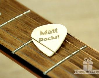 Custom Engraved Guitar Pick - Sleek Bone