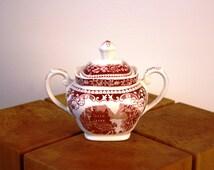 Petrus Regout & co Maastricht Cambridge Castillo vintage sugar bowl breakaway decor red Sphinx