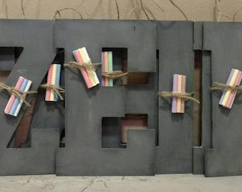 "13.5"" Chalkboard Letters/ Personalized Chalkboard Letter/ Chalkboard initial/ 1st Birthday Chalkboard/ Chalkboard Sign/ Party Favor for Kids"
