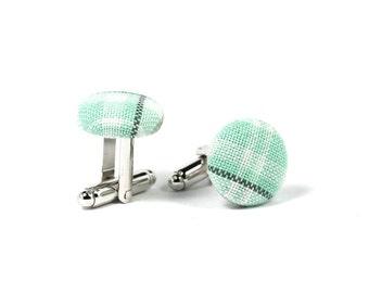 Mint plaid silver cufflinks, Green cotton cuff links, Fabric covered cufflinks, Pastel grey cufflinks for men, Pastel wedding, groom gift