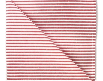 Red white stripe pocket square, Men's pastel striped cotton handkerchief, rustic wedding groom gift