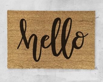 Hello Doormat- Hand Painted - Hello Door Mat