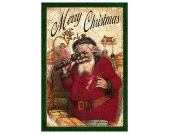 Merry Christmas Wall Plaque- Santa Plaque