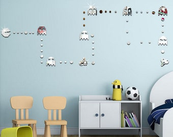 Acrylic mirror decal Packman,  game style wall decal, wall decal