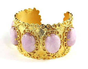 Gold and Pink Cuff Bracelet