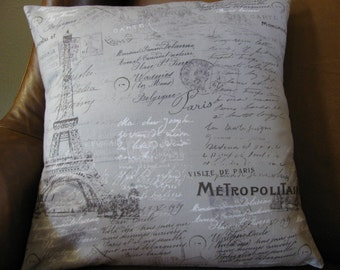 Visite de Paris, with this lovely Paris pillow cover in shades of grey, black and white.