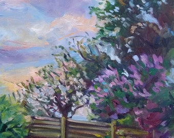 Impressionist landscape painting, original oil on canvas, Spring Garden blooming in evening, 16x20in