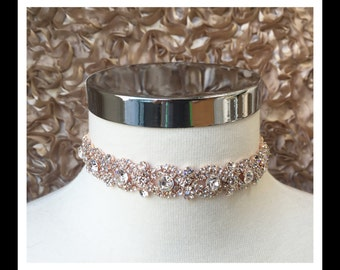 Rose Gold Diamond Rhinestone Choker #C106