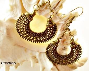 Boho style earrings, tribal brass earrings, gypsy bronze earrings, large hoop earrings