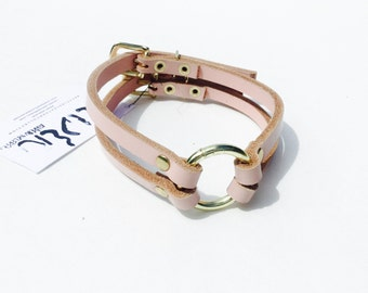 X Double O-Ring Choker - Leather - Made to Order