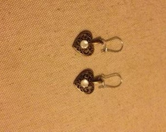 Filigree Heart with crystal earrings