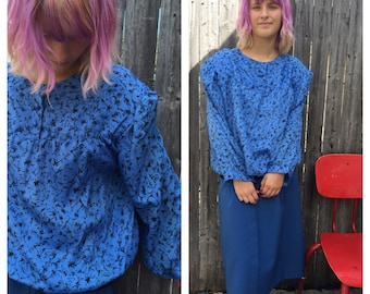 Vintage Blue Poly Pullover Blouse
