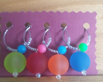 Set of 4 Neon wine charms