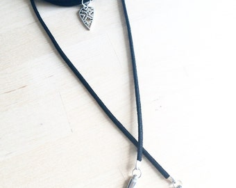 Black suede lariat necklace Lariat Necklace