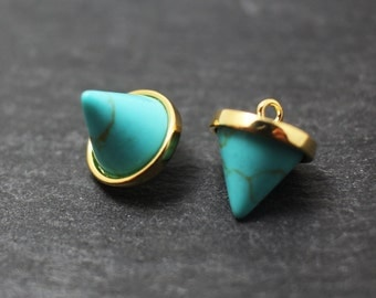 P0227/Anti-Tarnished Gold Plating Over Brass/Genuine Turquoise Circular Cone Pendant/10x12mm/2pcs
