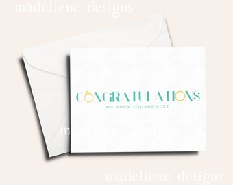 Congratulations Engagement Card - Congrats Card, Engagement Card, Engagement Party Congrats
