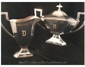 Antique Sugar Bowl & Creamer; Barbour Silver; vintage Sugar Bowl and Creamer; vintage silverplate; cream sugar; Downton Abbey; S132