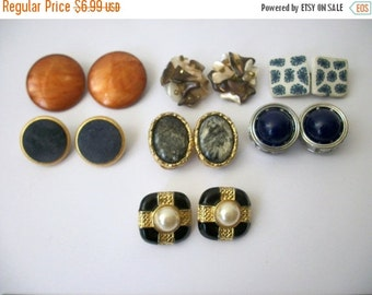 ON SALE 1930 - 1950s Destash Vintage Earrings X 7 Clip On 62216