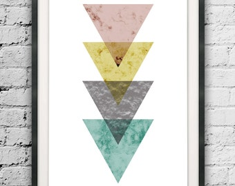 Modern Art Triangle Poster, Large Size Triangle Print, Abstract Triangles, Triangle, Scandinavian Design, Nordic Style Abstract Printables