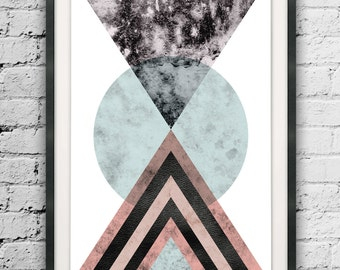 Modern Triangles Art, Abstract Triangle, Marble Texture Printable, Large Prints, Scandinavian Design, Watercolor Triangles, Minimalist Print