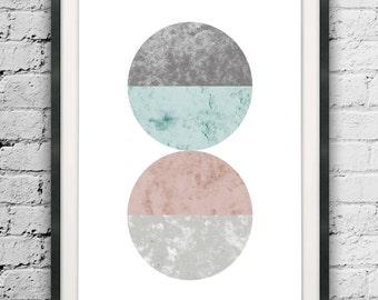 Abstract Circle Printable, Marble Design, Minimal Circle Art, Watercolor Abstract, Circle Print, Mid Century Modern, Circle Art Printable