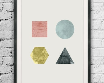 Printable Geometric Shapes, Triangle, Square, Hexagon, Circle, Abstract Shapes, Watercolor Abstract Shapes, Nordic Style, Minimal Abstract