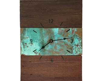 Copper and Reclaimed Wood Handcrafted Wall Clock