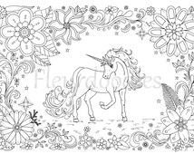 coloring page - Unicorn - horse, instant download, unique hand-drawn artwork, color therapy, colouring pages, adult coloring books, horses