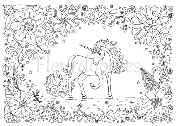 Coloring Page Unicorn Horse Instant Download By Fleurdoodles