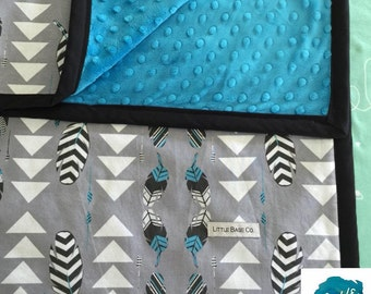 MADE TO ORDER - Geo Tribal Feather Turquoise Minky Baby Blanket