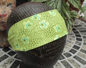 Headband. Lime Green with Flowers, Women, Hair Accessory, Hair Wrap