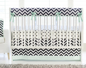 Black and White Chevron Crib Bedding Gender Neutral | Fabric Swatches