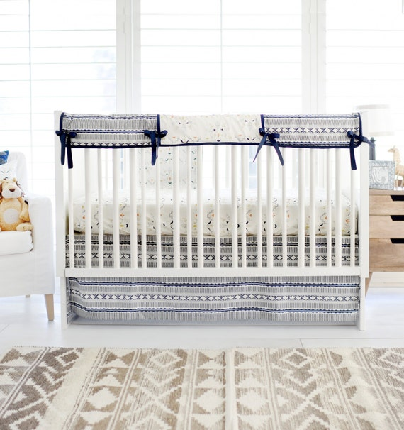 Navy & Gold Tribal Crib Bedding for Baby by