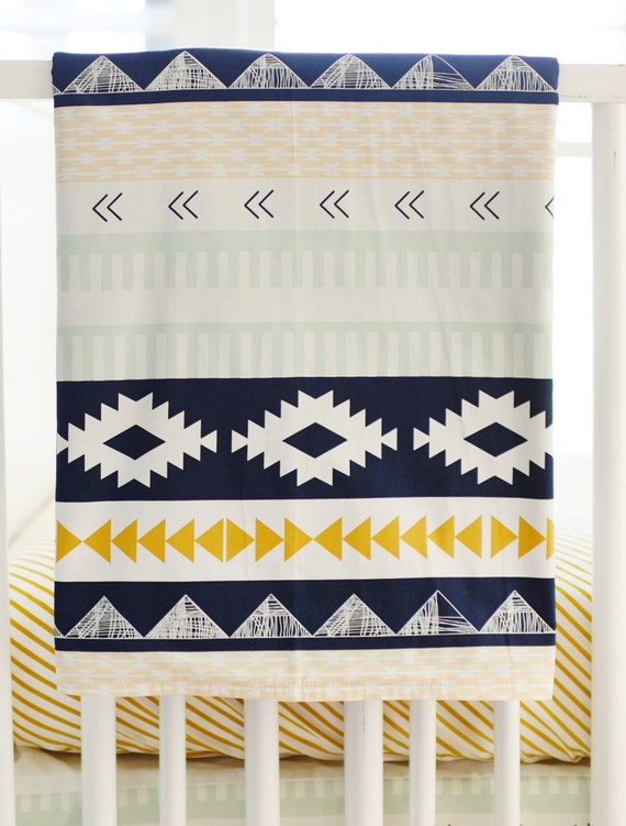 Navy Mint and Gold Tribal Crib Blanket for by