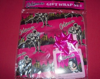 "Vintage 90's D C Comics Catwoman Gift Wrapping Paper Set 2 Sheets Gift Wrap 30"" x 20"" Bow With Adhesive Back Gift Card"