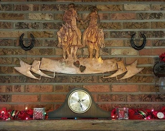 Cowboy and cowgirl riding horses holding hands love wall decor