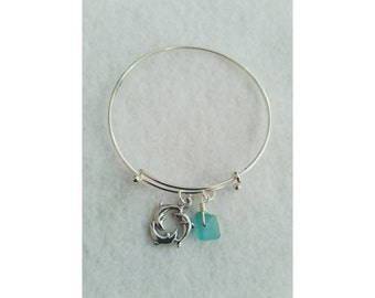 Dolphin aqua sea glass  adjustable bangle bracelet
