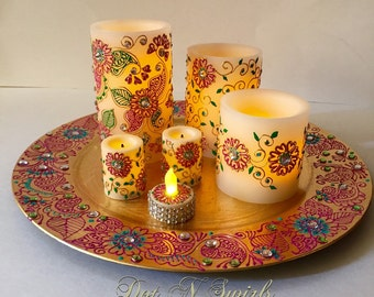 Flameless LED candle set with remote,wedding candles/ unique/ perfect for wedding/ holiday decor/ diwali decor/holiday centerpiece