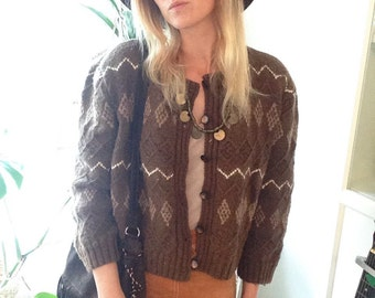 1970's Chunky Knit Cropped Cardigan