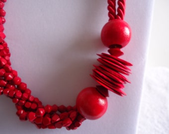 Chunky Red Statement Necklace