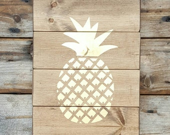 Pineapple wall decor, Pineapple gifts, Housewarming wood sign, New home owner gift, Rustic wood sign