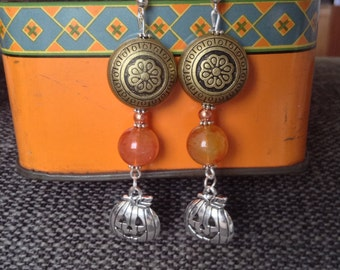 Long Halloween Pumpkin Charm Bead Earrings