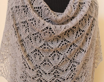 Lace shawl. Hand knitted lace shawl with beads.Gray wrap, shawl.Knit beaded shawl