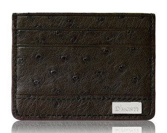 D'Monti Dark Brown Black Friday Day Gift - France Luxury Genuine Real Ostrich Leather Mens Womens Unisex Slim Credit Card Holder Wallet