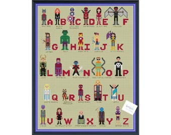 Superhero Alphabet Comic Book Cross Stitch DIGITAL PDF (pattern only) Inspired by Avengers, X-men, Spider-Man, Guardians of the Galaxy