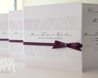 Aroa Invitation SAMPLE - White Lace Invitation with 6mm Satin Ribbon & Swarovski Crystal